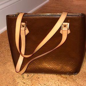 Pleather rose gold Louis Vuitton bag